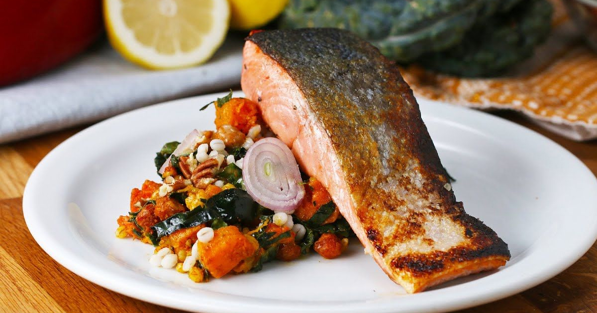 Panfried Salmon On Pumpkin Salad