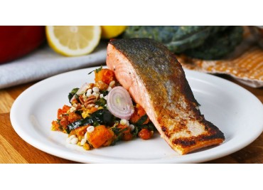 Panfried Salmon On Pumpkin Salad