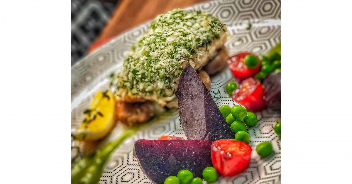 Crusted Royal Hamour with green peas purée and glazed beets