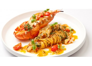 Tagliatelle Pasta with Lobster and Salmon Dice